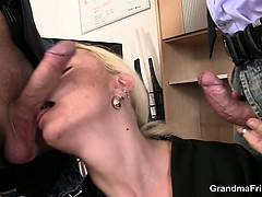 She Pleases Two Dicks At Job Interview