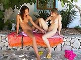 Two german lesbian girls dildoing