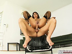 Two guys fuck Shanis straight to her ass. She squirts like