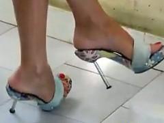 Feet In High Heels Walking Around