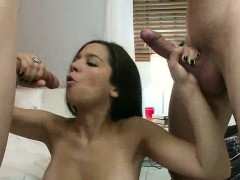 Sexy Brunette College Babe Getting A Double Teaming