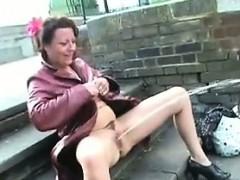 Mature British Woman Pissing In Public