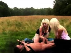 cfnm british girls stripping man outdoors for a blowjob