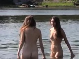 Naked Teen Girls Tanning At A Beach