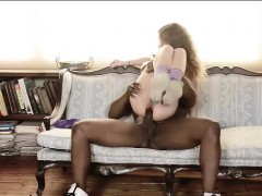 Skinny teen babe Kendall gets pussy banged by big black dick