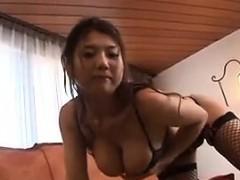 Busty Asian Wearing Fishnet Stockings