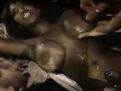 Ebony Mom Gets A Lot Of Cum On Her Body