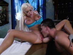 Busty Blonde Housewife Closeup Receiving Oral