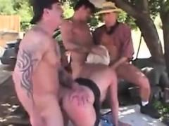 Gangbang Outside With A Mature Blonde Slut