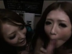 Sexy Japanese Sluts Sucking On A Cock