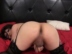Lingerie Ladyboy Closeup Tugging Her Pecker