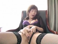 Miki Yamashiro In Stockings Fingers Her Wet And Dark Fish