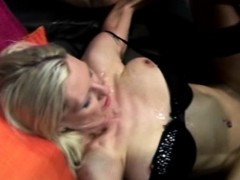 Taking a hot load on her tits