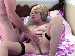 lusty busty mature nails a young stud