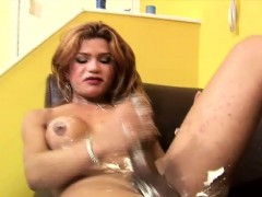 Stroking Her Huge Cock With Shaving Cream Makes Tgirl Squirt