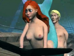 3d cartoon little mermaid getting banged underwater