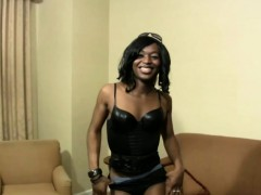 Black Shemale In Sexy Leather Corset Shaking Her Massive Ass
