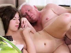 Lustful old lad explores young juicy body of a pretty hotty