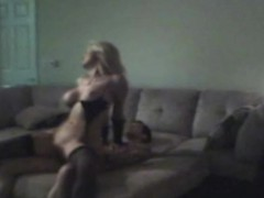 cheating blonde wife finished off on sofa caught on cam
