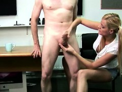 cfnm-british-blonde-giving-naked-guy-a-handjob