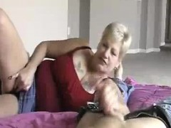 granny's handjob while playing wet dripping vagina