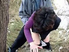Sexy girl bent on a banged and tree doggystyle