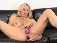 striking blonde mom with huge breasts julia ann drills her aching holes