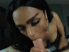 Asian Ladyboy Sucks A White Dick While In Handcuffs