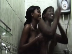 African Lesbians Stellah & Kerry Foreplay In The Bathroom