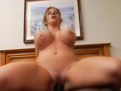 Big fake tit Sara Jay gets nailed on her back and from behind by black dick