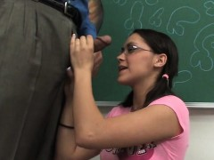 kinky nerdy student is given some sex ed on the teachers desk