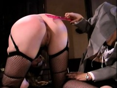 blonde-in-lingerie-sticks-out-her-ass-so-her-mistress-can-spank-it