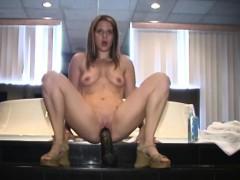 french canadian amateur cumming on a big brutal dildo