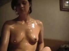 Oiled Brunette Girlfriend Patting And Stroking His Penis Th