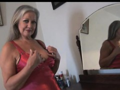 Attractive Busty Granny Posing And Teasing