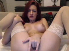 huge tits redhead camgirl in stocking fingering vagina