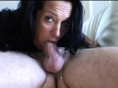 Mature Fledgling Black-haired's Messy Deep throat