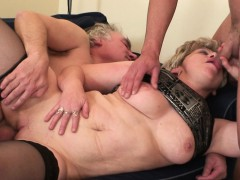 Horny Old Lady Swallows Two Cocks At Once