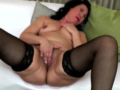 black haired mature fingering herself in stockings Hot