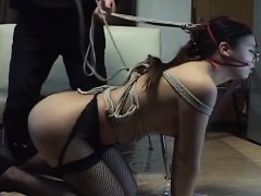 subtitled mixed japanese bdsm on a leash with backdoor play
