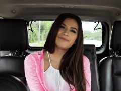 cute latina woman bangs in leather back seat in public