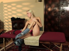 woman blonde gets massaged