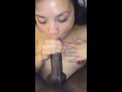 dumb girl sucking on penis