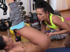 stunning-lesbians-licking-in-fitness-gym