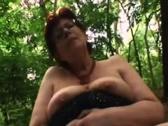 slutty redhead granny massive cock outdoor blowjob