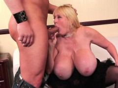 giant boobed milf fucks and eats cum