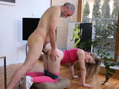 Young Teenie Rides Old Jock Mercilesly And Gives A Blow Job