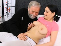 Young Playgirl Exposes Her Soaked Pussy For An Old Fucker