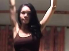Thai Ladyboy In Jean Skirt Is Dancing And Revealing Bigtits