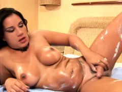 Ass Fingering Shemale Lotions Up Her Body And Jerks Shecock